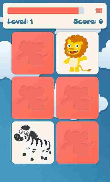 Memory-App-Animals-Gamescreen